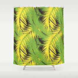 Tropical pattern. Palm leaves with grunge texture Shower Curtain