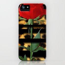 Leopard Print Black Stripes & Intertwining Rose iPhone Case