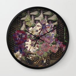 Charles Rennie Mackintosh - Petunias Wall Clock