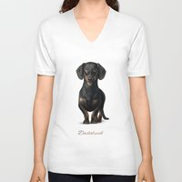 dachshund V-neck T-shirts featuring Dachshund by Gosia