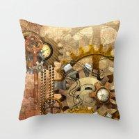 steampunk Throw Pillows featuring steampunk by Ancello