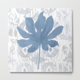 Indigo Boho Tie Dye Ikat Aralia Leaf Metal Print
