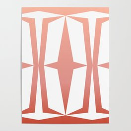 Mid Century Muse: Medallion in Coral Poster