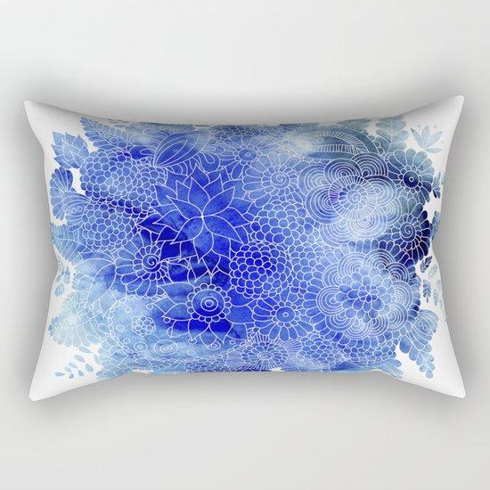 Blue Floral Pattern 03 Rectangular Pillow