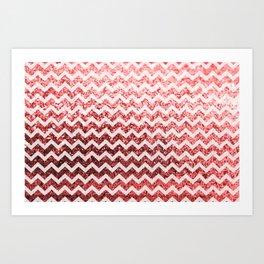 Glitter Sparkly Bling Chevron Pattern (red) Art Print