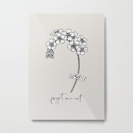 Forget Me Not Drawing Metal Print