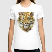 tiger T-shirts featuring Tiger // Strength by Amy Hamilton