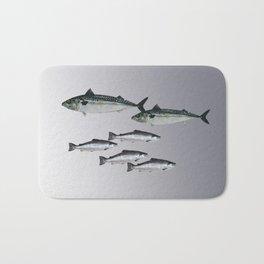 Tuna an Salmon Fish grey Bath Mat