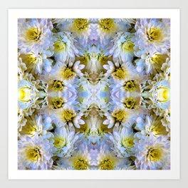 Bue Yellow Pastel Chrysanthemums Design Art Print