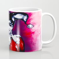 harley quinn Mugs featuring Harley Quinn  by thelocabat