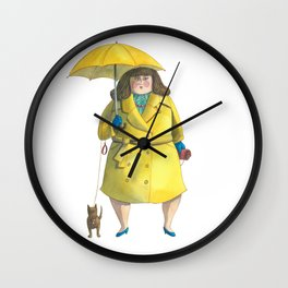 Glória e Mimi chic à chuva - Gloria and Mimi chic under the rain Wall Clock