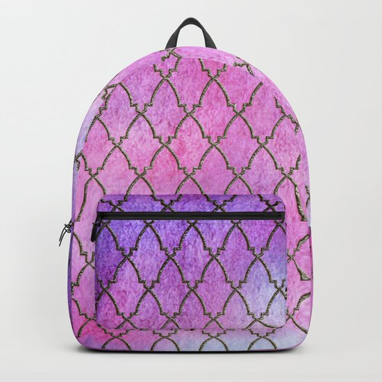 Purple and blue Quatrefoil with Gold Frame- Elegant Morrocan Watercolor Pattern Backpack