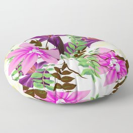Leaves, Twigs and Flowers Beautiful background design Floor Pillow