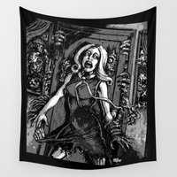 zombies Wall Tapestries featuring House of Zombies by Scott Jackson Monsterman Graphic