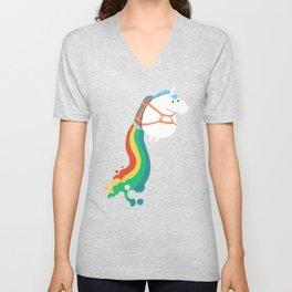 Fat Unicorn on Rainbow Jetpack Unisex V-Neck