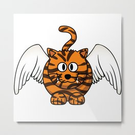 Funny Angel Tiger With Wings Cute Cat Lover Metal Print