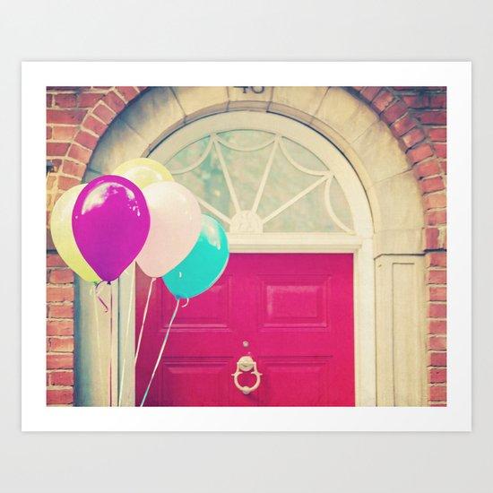 Red Door Balloons Art Print
