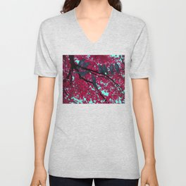 autumn crows, red maple Unisex V-Neck