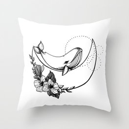 Whale on the Moon Throw Pillow