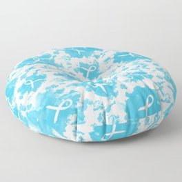 Teal Watercolor Ink Splashes Cause Ribbons Floor Pillow