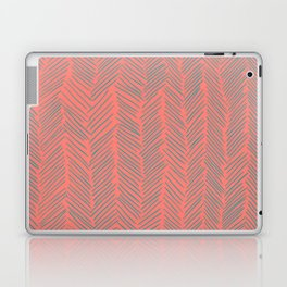 Living Coral Herringbone Gray Laptop & iPad Skin