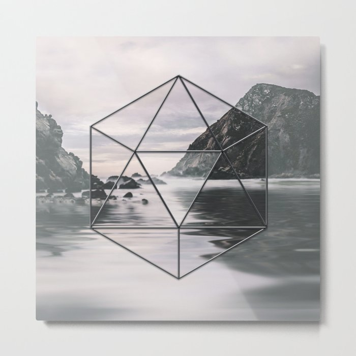 Surreal Geometric Calm Water Landscape View Hexagon Metal Print
