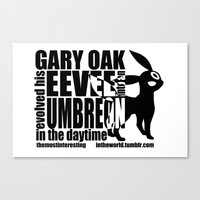 umbreon Canvas Prints featuring Gary's Umbreon by interesting oak