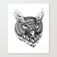 ornate Canvas Prints featuring Ornate Owl Head by BIOWORKZ