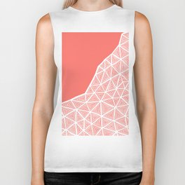 Coral Ethnic Abstract Biker Tank
