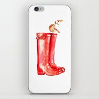 craftberrybush iPhone & iPod Skins featuring Red Christmas Boot by craftberrybush