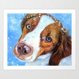 Snow Baby - Brittany Spaniel Dog Art Print