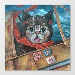 Lil Bub Takes Flight, cute cat art, oil painting portrait, flying plane in sky, kitty, kitten Canvas Print