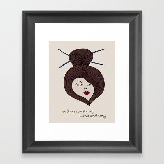 Knitty Girl Framed Art Print