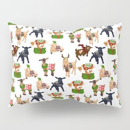 Christmas goats in sweaters repeating seamless pattern Pillow Sham