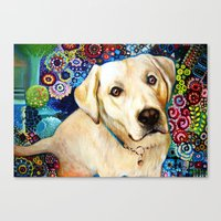 labrador Canvas Prints featuring  	 Labrador by oxana zaika