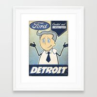 detroit Framed Art Prints featuring Detroit by Sophie Broyd