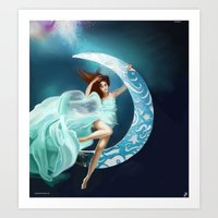 Sinking into the Moon Art Print