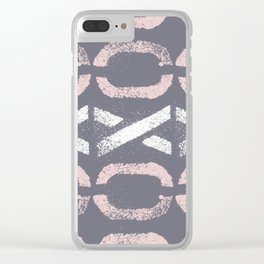 Shapes Of Love - Retro Grey Pink Pastel Clear iPhone Case