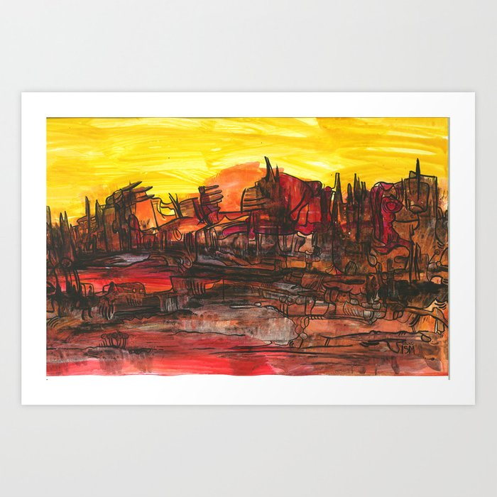 Burnt Landscape Art Print