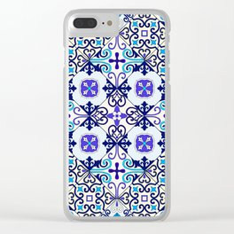 Turquoise Moroccan tile seamless pattern Clear iPhone Case