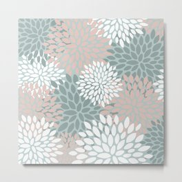 Floral Blooms, Blush and Teal, Abstract Art Prints Metal Print