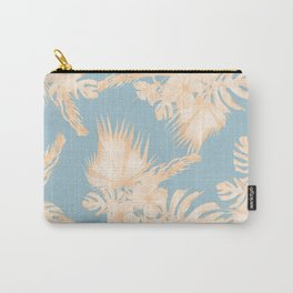 Island Vacation Hibiscus Palm Mango Sky Blue Carry-All Pouch
