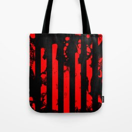 Blood Bars - Geometric, black and red stripes pattern, blood red, paint splat artwork Tote Bag