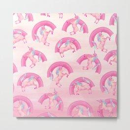 Cute Mythical Pink Unicorn Rainbow Watercolor Metal Print