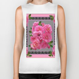 VICTORIAN STYLE CLUSTERED PINK ROSES ART Biker Tank