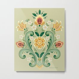 Rosemaling in Green and Gold Metal Print