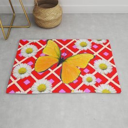 Red Color Shasta Daisys & yellow butterfly Pattern Garden Art Rug