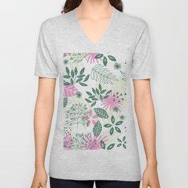 pink teal flower pattern Unisex V-Neck