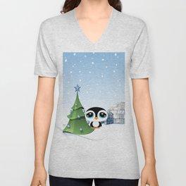 Cartoon Penguin with Igloo Illustration Unisex V-Neck