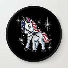 Americorn | Patriotic Unicorn Independence Day USA Wall Clock